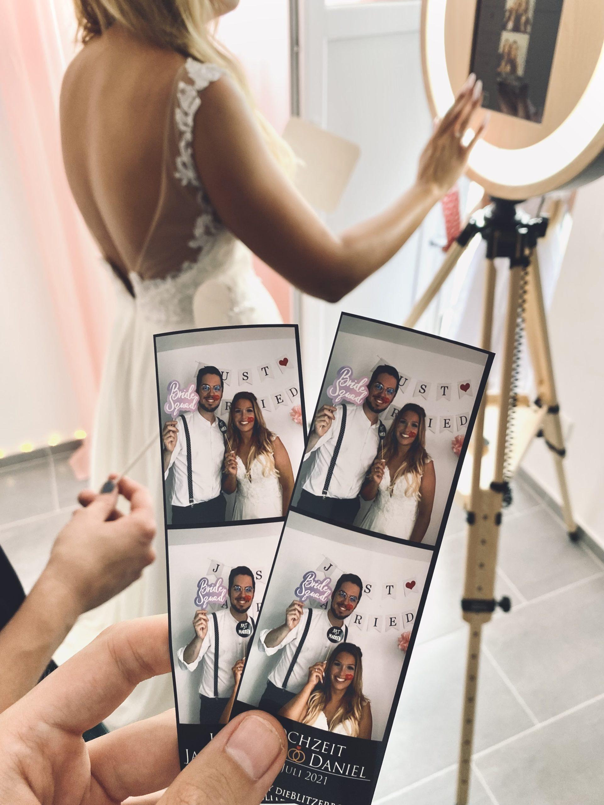 Ausdrucke des Fotobox Druckers im Fotostreifen Format